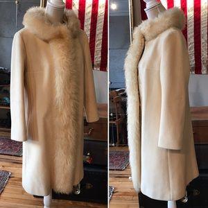 VTG Wool Coat w/ Shearling Trim